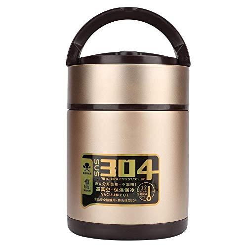 Caja Bento de 3 capas Fiambrera aislada de acero inoxidable Fiambrera térmica de gran capacidad Contenedor portátil de almacenamiento de alimentos para la escuela Picnic Hospital(1.5L)