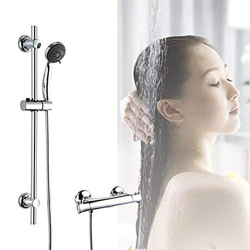 Douchearmatuur thermostaat met regendouche en handdouche, spiegel, anti-verbranding, chroom, 2 straalsoorten voor badkamer, douchesysteem met thermostaat