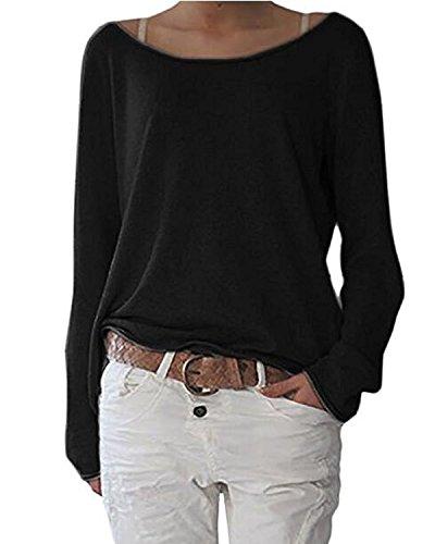 Damen Pulli Langarmshirts T-Shirt Rundhals Ausschnitt Lose Bluse Hemd Pullover Oversize Sweatshirt Oberteil Tops A Schwarz 2XL