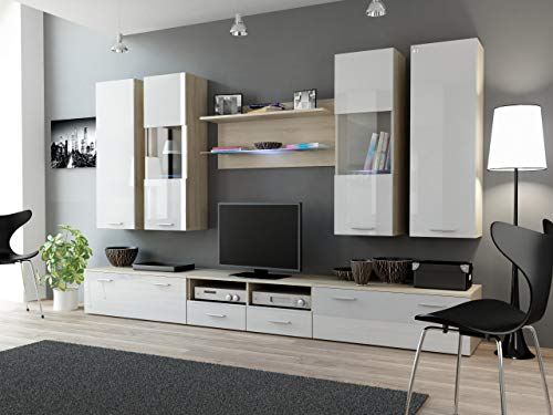 Maxima House Dream II TV Möbel Set 6 Teilig Hochglanz Wohnwand Anbauwand Modern Wohnzimmerschrank Wohnlandschaft Mediawand Fernsehschrank (Sonoma Eiche/Weiß)
