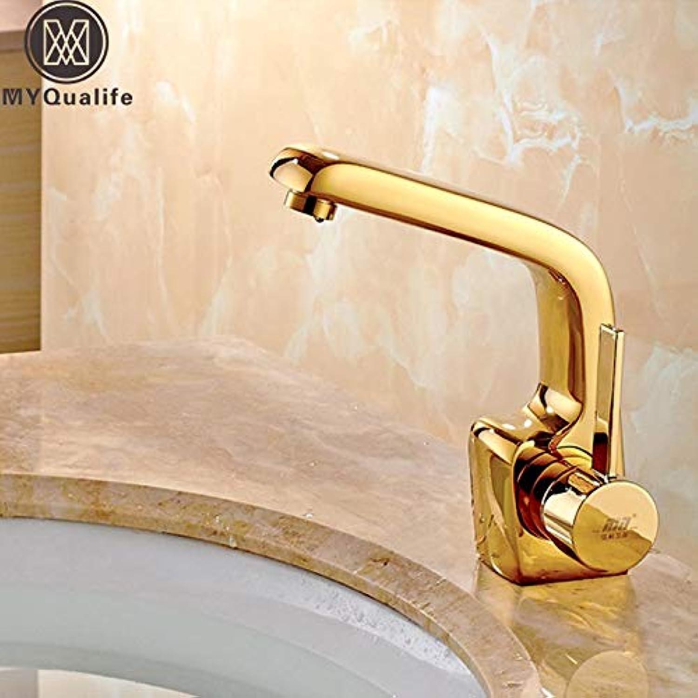 U-Enjoy Kronleuchter Stil Messing Europische Goldenen Hahn Top-Qualitt Tap Basin Deck Montierte Ein Badezimmer Waschbecken Griff-Waschtischmischer Mit Heiem Und Kaltem Wasser Kostenloser Versand