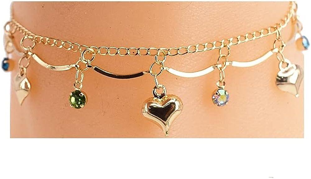 Heart Charm Anklet 18kt Pure gold filled with small Adjustable Hooks (Ankle Bracelet)