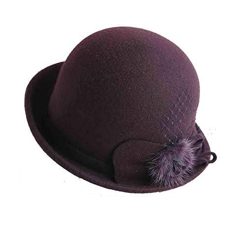 Sun Femmes Bernadette Style Vintage 100% Fibre Naturelle Cloche Chapeau Seau Chapeau d'hiver avec Accent De Fleurs (Couleur : Purple)