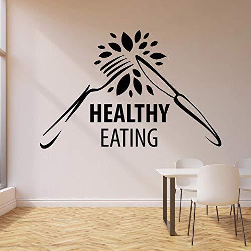 Wandsticker Gesunde Ernährung Wandaufkleber Für Gym Diät Ernährung Gabel Vinyl Wandtattoo Decor Küchenmesser Bio-Lebensmittel Aufkleber Kunst