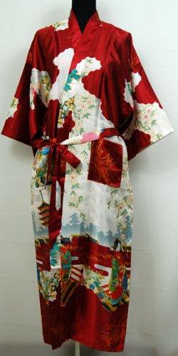 Shanghai Tone® Robe De Chambre Kimono Pyjama Peignoir Bordeaux Taille Unique