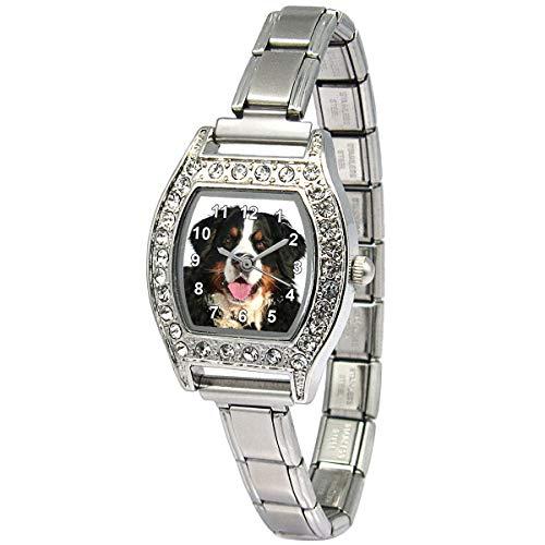 Timest - Berner Sennenhund Damenuhr Italian Charms mit Strass Rechteckig Analog Quarz BJS048