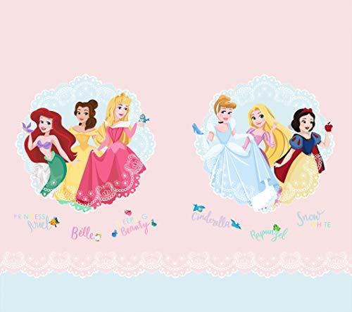 AG Design Princesas con medallones de Encaje, Disney Cortinas para habitación Infantil, 2 Piezas, Multicolor, 180 x 160 cm
