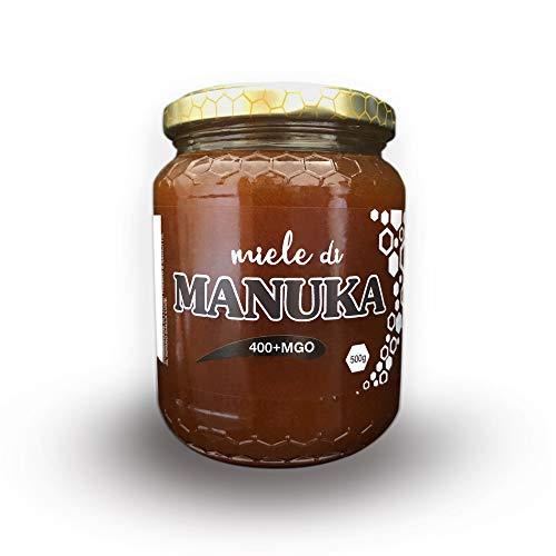 ERBOTECH Miel Manuka 400 + MGO en frasco de 500 g, proviene de NUEVA ZELANDA, probado y certificado para la concentración de metilglioxal (MG) por un laboratorio autorizado en Nueva Zelanda