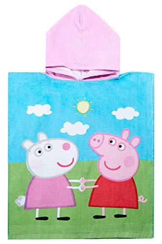 Peppa Wutz & Luzie Locke Badeponcho aus 100% Baumwolle für Kinder, Poncho für Mädchen und Jungen, Öko Tex Standard 100