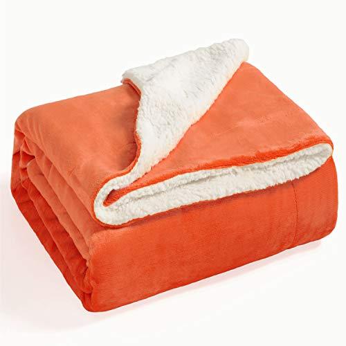 Bedsure Coperta Plaid di Sherpa Pile Arancione 220x240 cm Letto Matrimoniale - Plaid da Divano Coperta Super Morbida e Calda