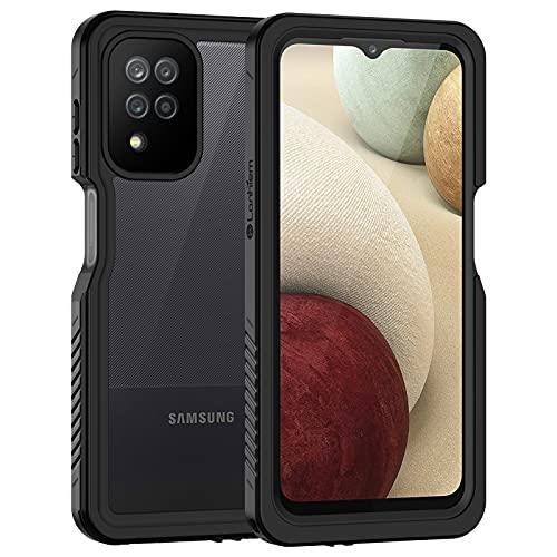 Focusor Kompatibel mit Samsung Galaxy A12 Hülle, IP68 Wasserdicht Samsung A12 HandyHülle 360 Grad Schutzhülle, Stoßfest Staubdicht Schneefest Outdoor Panzerhülle mit Eingebautem Displayschutz, Schwarz