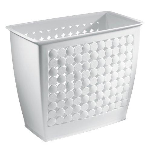 InterDesign Orbz Wastebasket Trash Can for Bathroom, Office, Kitchen - White