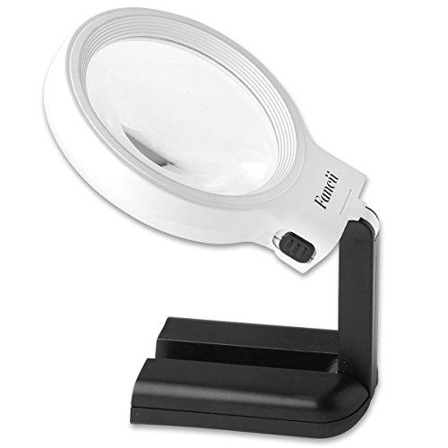 Fancii 10 LED Licht Beleuchtete Lupe mit Ständer, 2X 4X Große Leselupe Tischlupe Vergrößerungsglas mit Beleuchtung für Senioren Lesen, Inspektion, Löten, Handarbeiten, Reparatur & Hobby