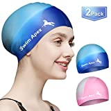 Swim Apex Swim Caps for Long Hair (2 Pack), Durable Silicone Swimming Caps for Women Men Adults Youths Kids, Easy to Put On and Off, Cover Ears (Pink&Blue)