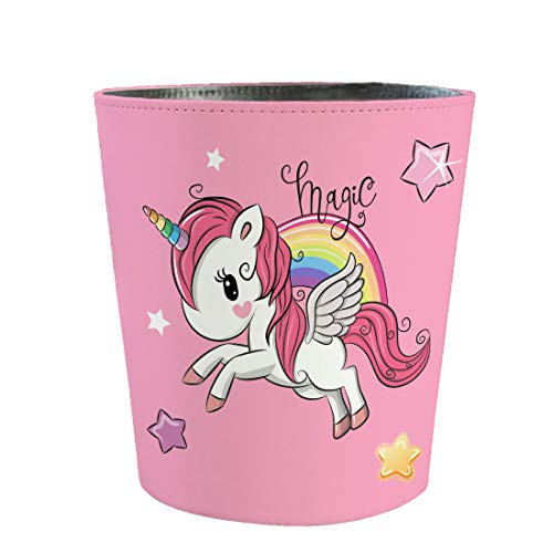 PeleusTech 10L Wastebasket Retro Decorative Trash Can Waterproof PU Leather Wastebasket Without Lid Girl#039s Wastebasket Unicorn Wastebasket for Kitchen Office Living Room Bedroom