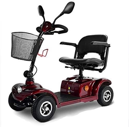 YOLL Moto para Personas Mayores,Scooter Electrico Plegable Minusválidos Plegable 0-10km/h 250w Motor,Patinete Compacto 4 Ruedas,360° Asiento Giratorio,Sistema Inteligente Eléctrico a/Red