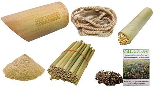 aktiongruen Wildbienen Insektenhotel Bastelset Bambusröhre 12 cm mit Füllung und Lehmpulver