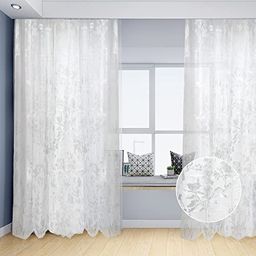 Sheer Curtains Floral Bird Burnout Window Drapes Set of 2 White Sheer Voile Curtain Panels Grommet Light Filtering Window Curtains for Living Room, Bedroom 55 × 87 Inches