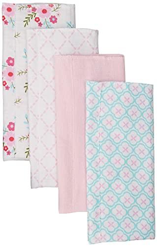 Luvable Friends Unisex Baby Cotton Flannel Burp Cloths, Floral, One Size