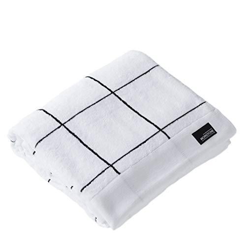 シスデザイン タオルケット 吸湿性放湿性に優れ暑い夏でもさわやかな寝心地 シンプルなモノトーングラフチェックデザイン(ホワイト) 140×200cm