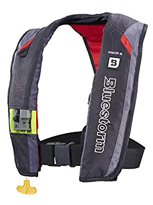 Bluestorm Gear Stratus 35 Inflatable PFD Life Jacket (Nitro Red) | US Coast Guard Approved Automatic/Manual Life Vest for Adults