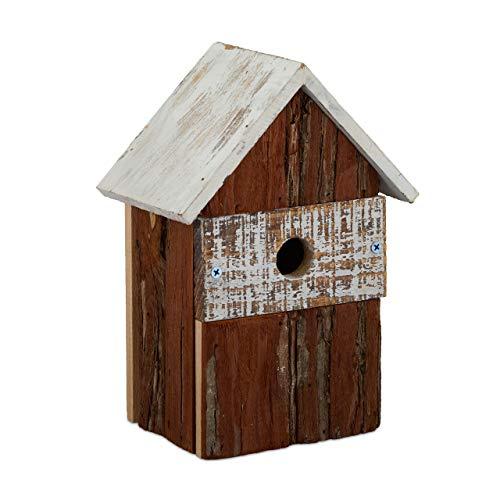 Relaxdays Vogelhaus, aus Holz, Vogelhäuschen zum Aufhängen, Deko-Vogelvilla Garten, HBT: 25,5x18x12 cm, Natur/weiß