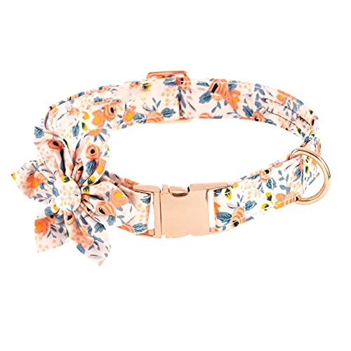 VUCDXOP - Collar para perro con pajarita extraíble, diseño de flores, con lazo, ajustable, de algodón, con cierre de metal
