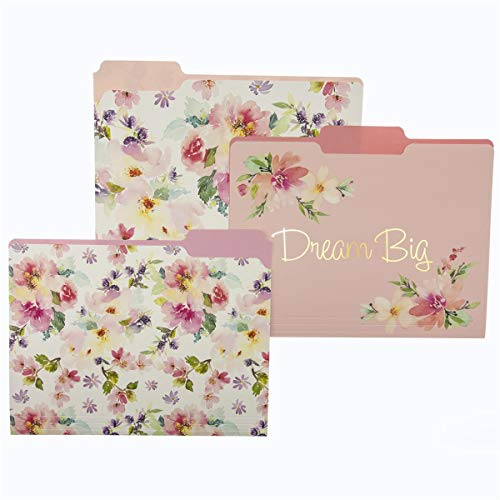Graphique Watercolor Floral File Folder Set – File Set Includes 9 Folders and 3 Unique Floral Designs, Embellished w/ Gold Foil on Durable Triple-Scored Coated Cardstock, 11.75' x 9.5'