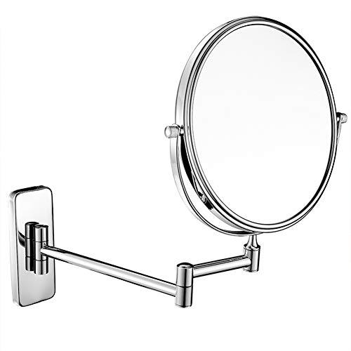 MOZX Miroir Maquillage,Miroir De Maquillage Miroir Pliable Portable avec Support,Miroir De Maquillage Illuminé De Voyage Portatif Double Face,360°Rotation Ajustable,Argent,8 inches 7X