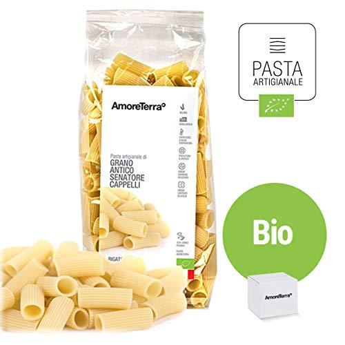 Amoreterra, Pasta Senatore Cappelli Bio Rigatoni 500g, Grani antichi, artigianale biologica, trafila al bronzo, essiccata bassa temperatura