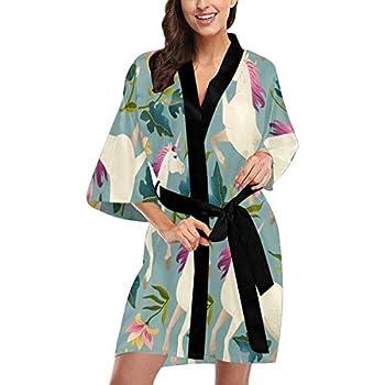 Custom Vintage Unicorn Women Kimono Robes Beach Cover Up for Parties Wedding 2XL