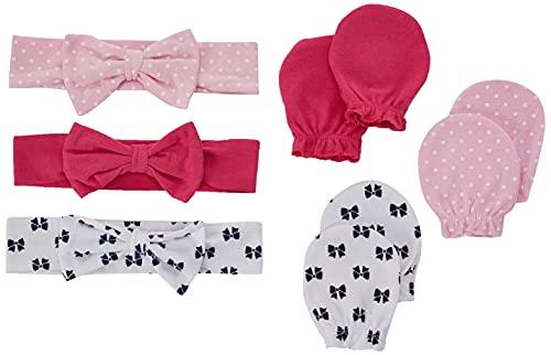 Hudson Baby Unisex Baby Cotton Headband and Scratch Mitten Set, Bows, 0-6 Months