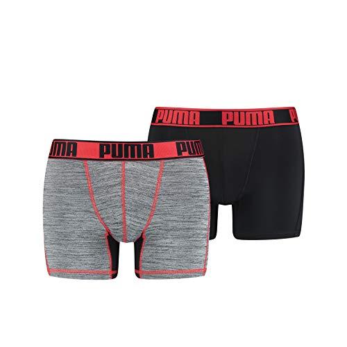 PUMA Herren Active Grizzly Melange Boxer 2P Packed Unterwäsche, Black/red, L (2er Pack)