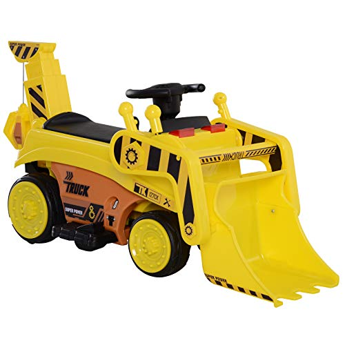 HOMCOM Kinderfahrzeug Elektroauto Kinder Traktor Bulldozer Bagger Trettraktor MP3 3–6 Jahre PP Gelb 106,9 x 41,2 x 53 cm