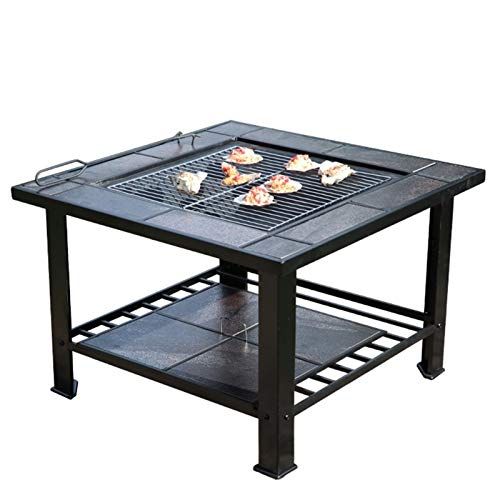 Wood Fire Pits Outdoor Garden Square Metal Fireplace With Spark Screen Cover, Poker, Cover, Barbecue Picnic Camping Camp Fire Backyard, 79cm/29.9' (Color : Kit-1)