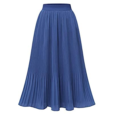 DRESSTELLS Women Pleated Midi Skirt A Line Swin...