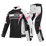 ZDSKSH Trajes De Moto para Mujer Chaqueta y Pantalón De 2 Piezas con Armaduras CE Extraíbles, Impermeable Ropa para Montar En Moto para Toda Estaciòn