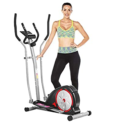 ANCHEER Elliptical Machine, Elliptical Trainer for Home Use with Pulse Rate Grips and LCD Monitor, Magnetic Smooth Quiet Driven Max 350lbs (Black)