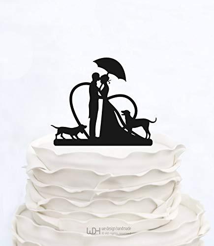 Ad4ssdu4 Hochzeitstorte Topper mit Herz und Regenschirm Paar Silhouette Braut und Bräutigam Cake Topper mit Zwei Hunden benutzerdefinierte Cake Topper Lustige Cake Topper