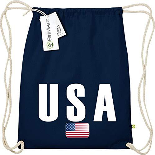 Shirtstown - Bolsa de deporte tipo saca con diseño USA, orgánica y de comercio justo, azul, talla única