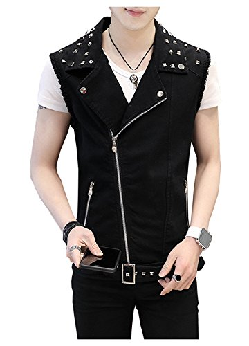 LifeHe Men's Sleeveless Lapel Punk Zipper Denim Jean Vests Jacket with Rivets (Black, L)