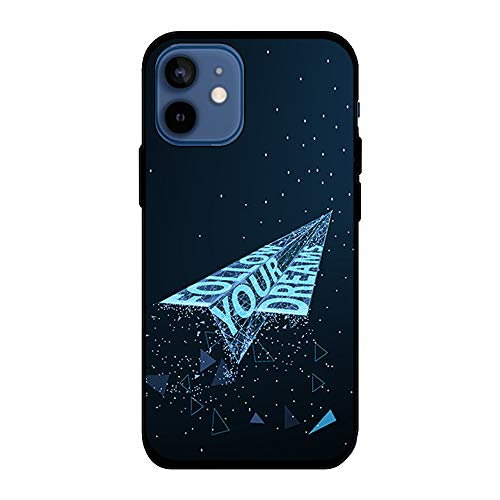 BJJ SHOP Funda Negra para [ iPhone 12 Mini ], Carcasa de Silicona Flexible TPU, diseño : Avion de Papel futuristico Follow Your Dreams