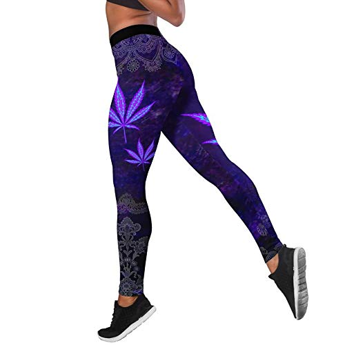 ZKHD Leggings de Yoga con Estampado de Flores para Mujer, Pantalones de Yoga de Cintura Alta, Levantamiento de Glúteos, Mallas Deportivas Elásticas para Correr,C-Large