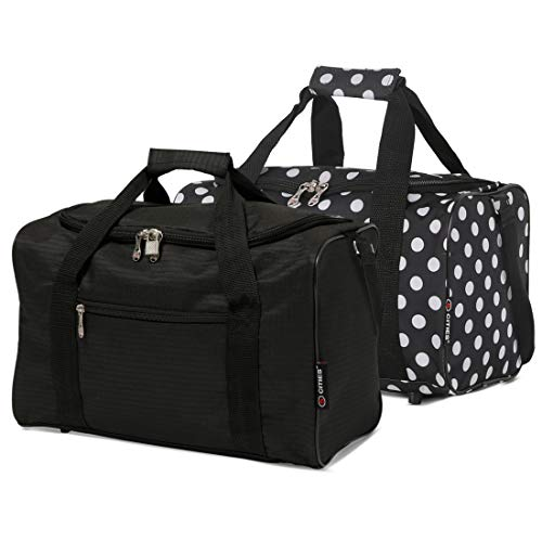 5 Cities 40x20x25 Ryanair Maximum Sized 2020 Under Seat Cabin Holdall Travel Flight Bag – Take The Max on Board! (Black + Black Polka)