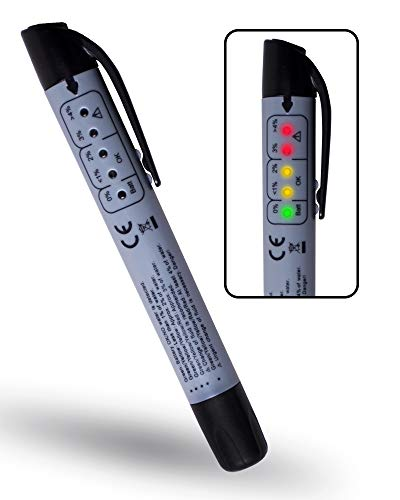eOUTIL Brake Fluid Tester Pen, Hydraulic Fluid/Liquid/Oil Moisture Analyzer with 5 LED Indicators, Auto Brake Diagnostic Testing Tool for DOT3 DOT4 Brake Fluid (Grey)