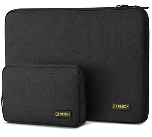 I INESEON Laptop Sleeve Case with Accessory Pouch for 12.3 Inch Surface Pro 7/6/5, 13-Inch Surface Pro X, MacBook Air/Pro 13, Huawei Matebook 13, 12.9 iPad Pro Tablet Protective Cover, Black