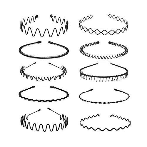 LOVINSHOW 10 Pcs Metal Headbands for Men Women, Simple Fashion Metal Spring Wavy Hair Bands Nonslip Unisex Black Headband Hair Hoods for Home, Outdoor, Sports & Yoga Use