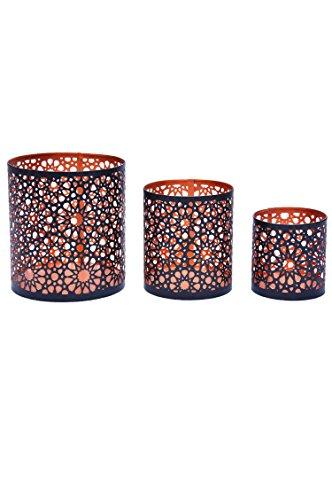 3er Set Orientalisches Windlicht Laterne orientalisch Adiba 14cm Groß | Orientalische Vintage Teelichthalter Kupferfarben innen schwarz außen | Marokkanische Windlichter aus Metall als Dekoration - 2
