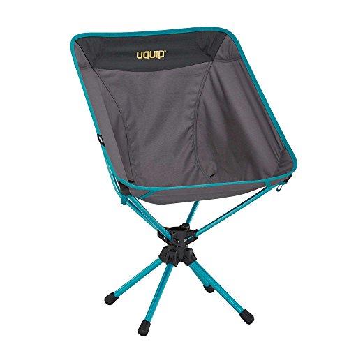 Uquip Three Sixty Leichtgewicht Camping Stuhl mit Tragetasche, 360° Drehgelenk, Grau