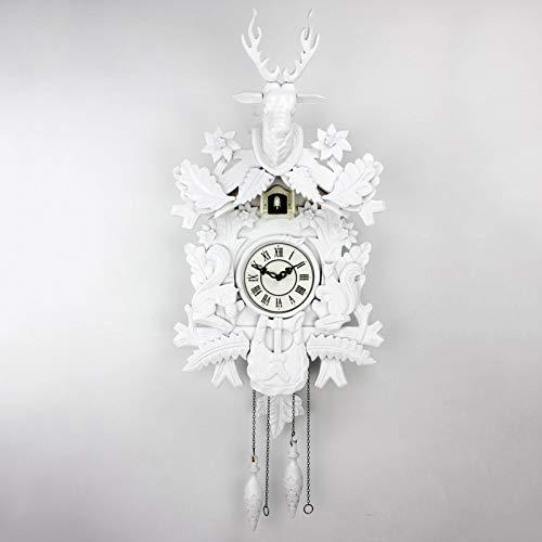 GAOJIN Elegante Pared de Reloj de Cuco Blanco, Reloj de Pared de Madera de Reloj de Cuco de Cuarzo con Chime.